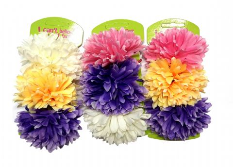 9 Flowers Hair Carnation Accessories On Elastic Various Colours Wedding (3 Cards)